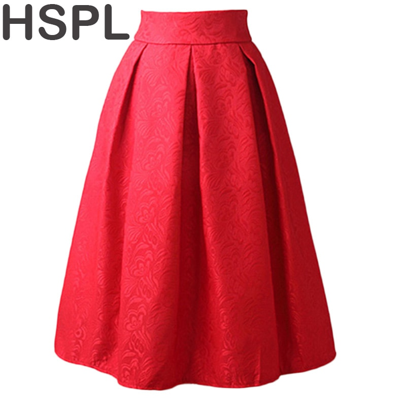 Women Skirts High Waist Pleated Midi 17 Spring Summer Vintage Skirt Work Wear Hepburn Skirts Lady Europe Saia 1