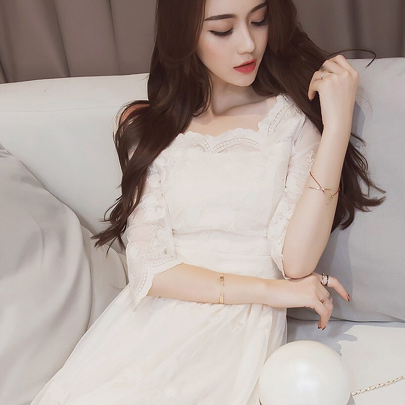 Summer Vintage Floral Print Long Dress O-Neck Casual Pleated Half Sleeve Lace Dress Women Party White Dress 3