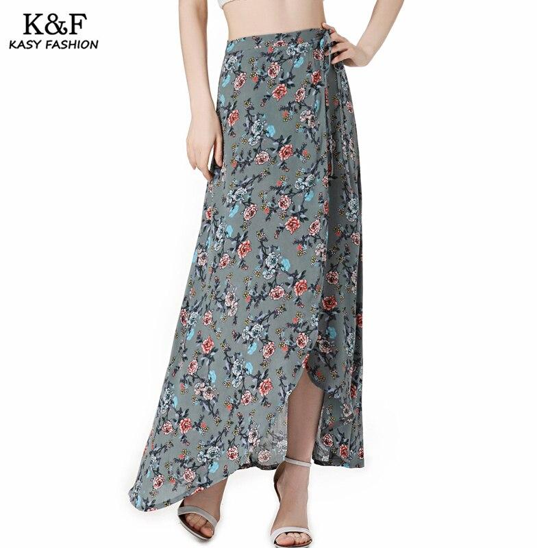 Women Lace Up Split Maxi Beach Summer Skirt 18 High Waist Bohemian Print Casual Asymmetrical Slit long Skirt Mujer Boho Skirts 2