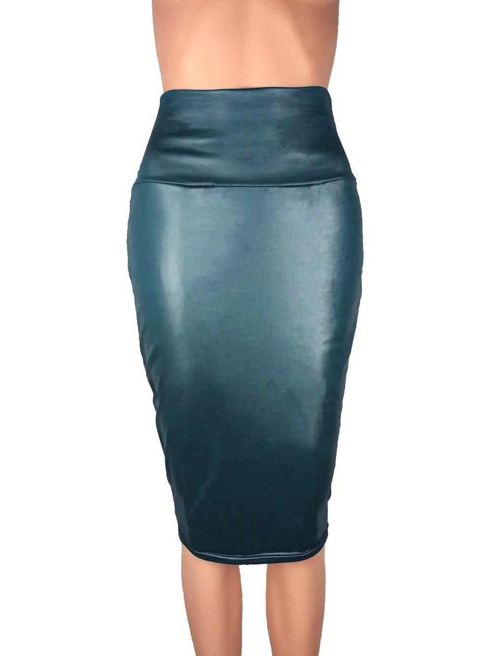 Bohocotol 19 pencil faux leather skirt women casual plus size clothing chic elegant sexy fitness black midi pencil skirts 3
