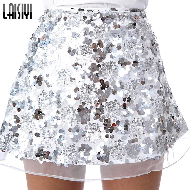 LAISIYI Gold Sequin Mesh Mini Skirts Womens Christmas High Waist Skirt Zipper Casual Short Party Beach Black Skirt ASSK005 2