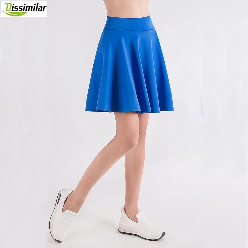 free shipping Women Flared Skater Skirt Basic Solid Color Mini Skirt Above Knee Versatile Stretchy Pleated Casual Skirt 5 sizes 1