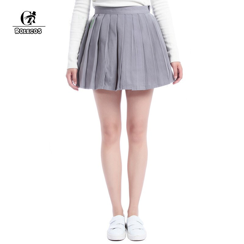 ROLECOS Plain Gray Girls Pleated Skirt School Patterns Preppy Sweet Style Women Skirt Summer CC34-QU-GY