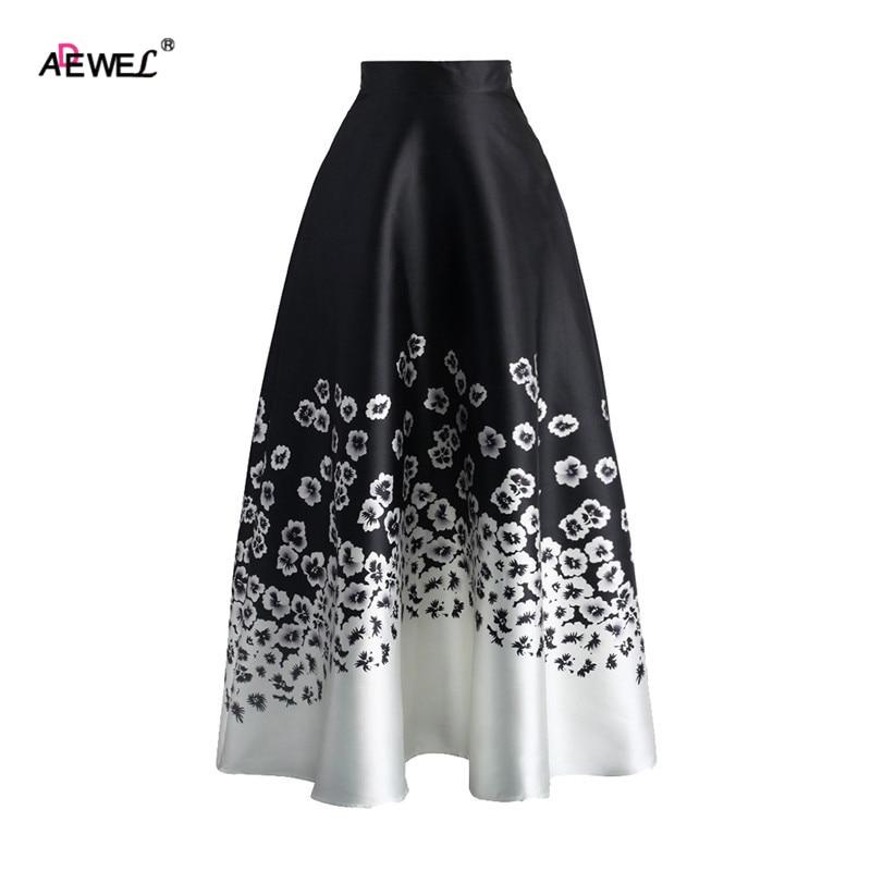 ADEWEL Summer Vintage High Waist Women A Line Skirts Elegant Floral Ptinted Casual Skirt Fashion Color Block Maxi Skirt Black 1