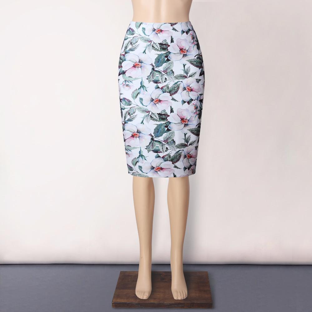 Neophil 19 Elegant Floral Print Ladies Winter Midi Pencil Skirts High Waist Fashion Plus Size Slim Bodycon Office Saia S0417 2