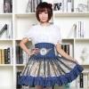 High Waist Skirt Blue Musha Printed Women's Short Sweet Mori Girl High Waist Skirt Blue Musha Printed Women's Short Skirt with Ruffles