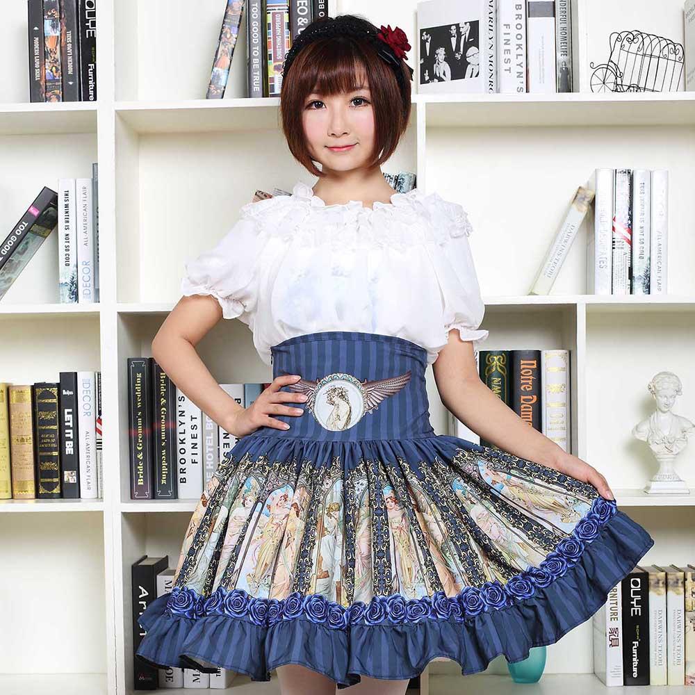 Sweet Mori Girl High Waist Skirt Blue Musha Printed Women's Short Skirt with Ruffles 3