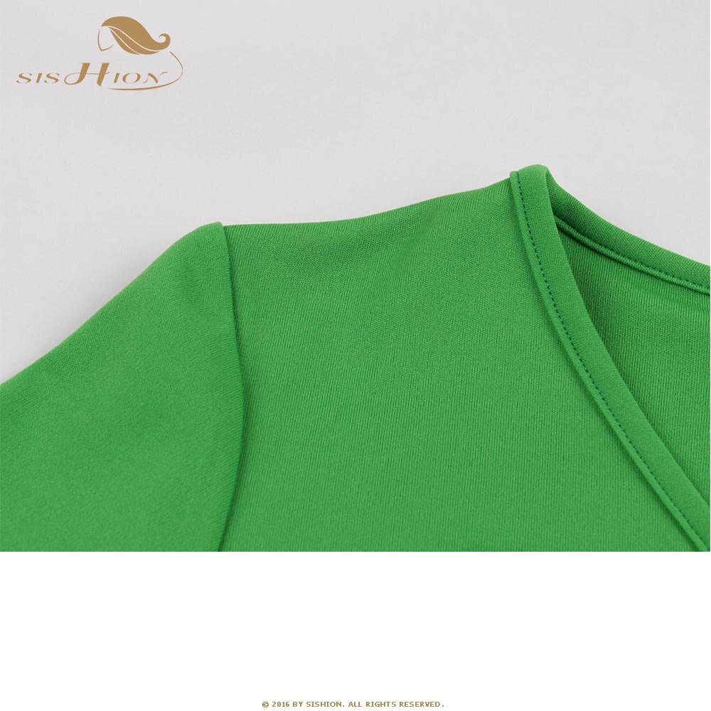 SISHION Half Sleeve Autumn Dress SP0584 Vintage Sexy V Neck New Year Women Ladies Green Christmas Dress 3