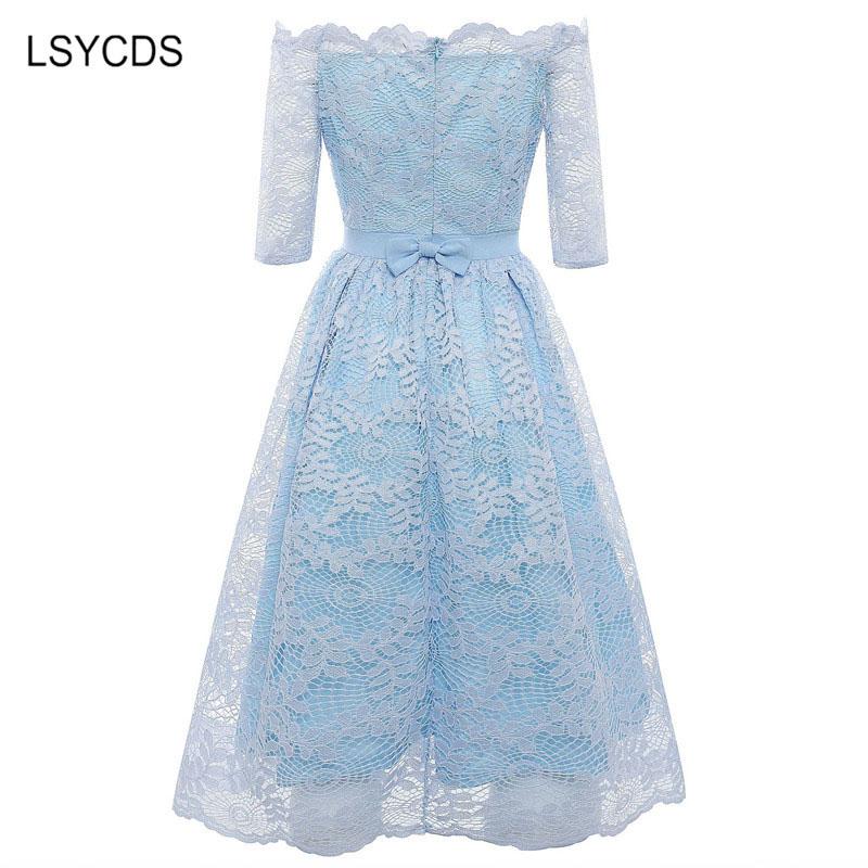 19 Autumn Elegant Lace Dress Women Plus Size Slash Neck Half Sleeve Knee Length Blue Gray Casual Party Dresses for Women 2