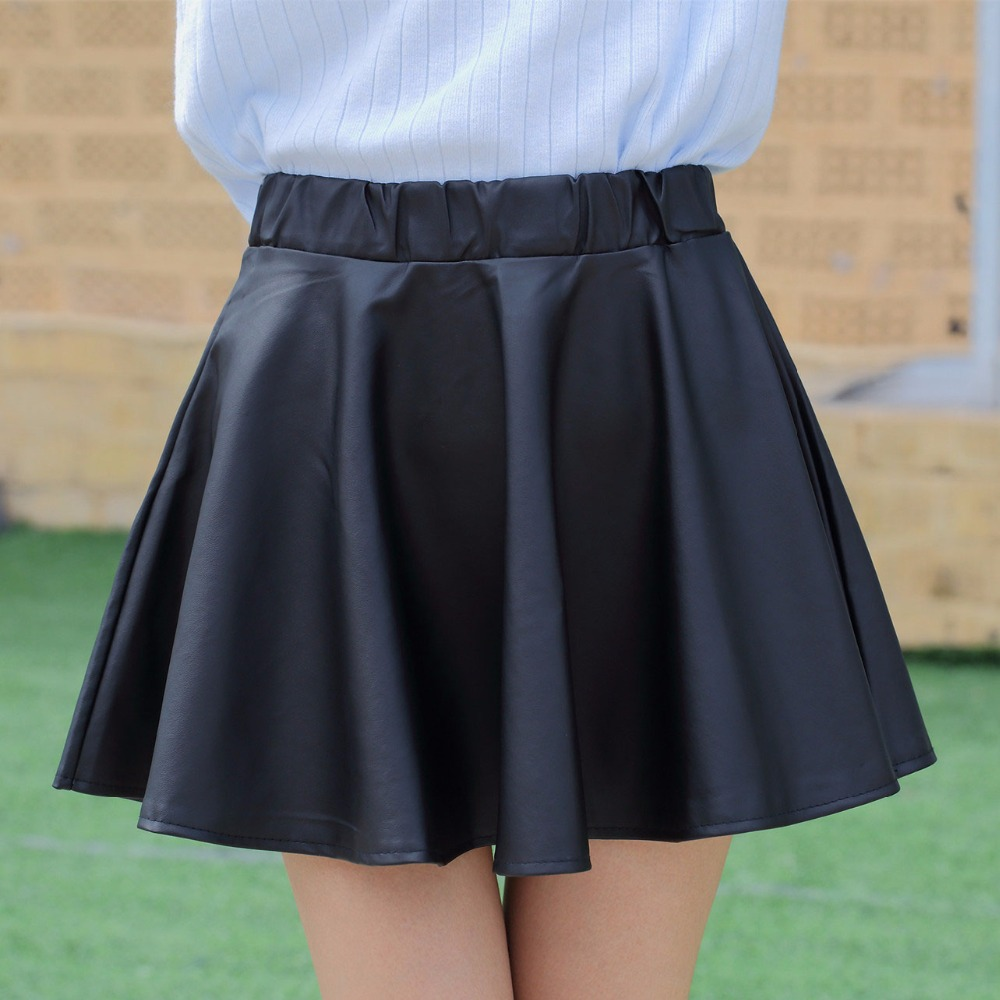 Danjeaner PU Autumn Winter Skirts Women 17 High Waist Black Slim Mini Waterproof Pleated Skirts Female Casual Leather Skirt