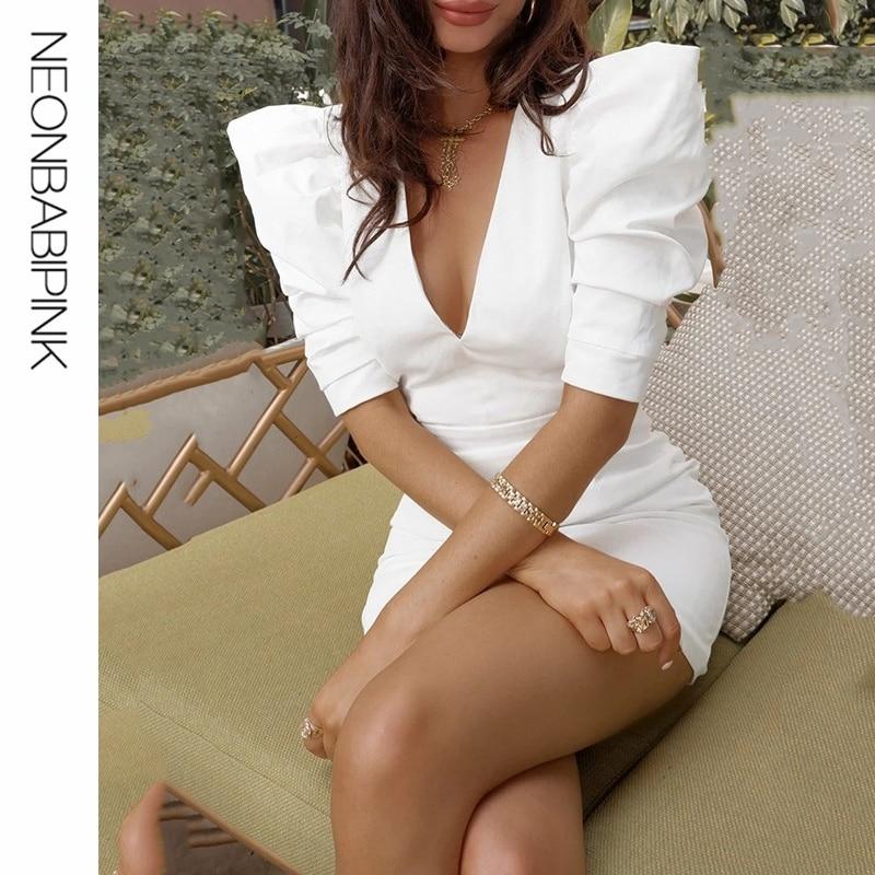 NEONBABIPINK White Party Dress Elegant Womens Sexy Dresses Deep V Neck Open Back Puff Hald Sleeve Mini Bodycon Dress D92-AE55 1