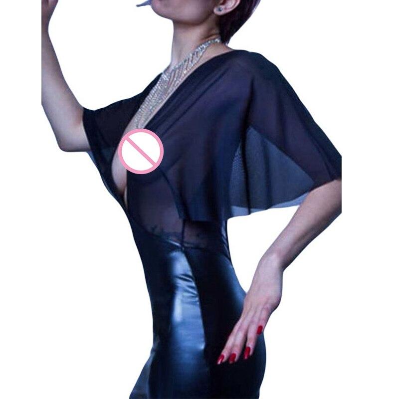 Transparent Gauze Vinyl Leather Patchwork Clubwear Sexy Deep V-Neck Flare Half Sleeve Part Dress 17 Women Night Club Vestidos 2