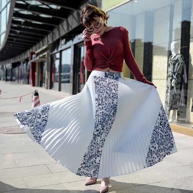 Vintage Print Elastic High Waist Korean Women Long Skirts Black White Maxi Pleated Skirt Saias Fadalas 1