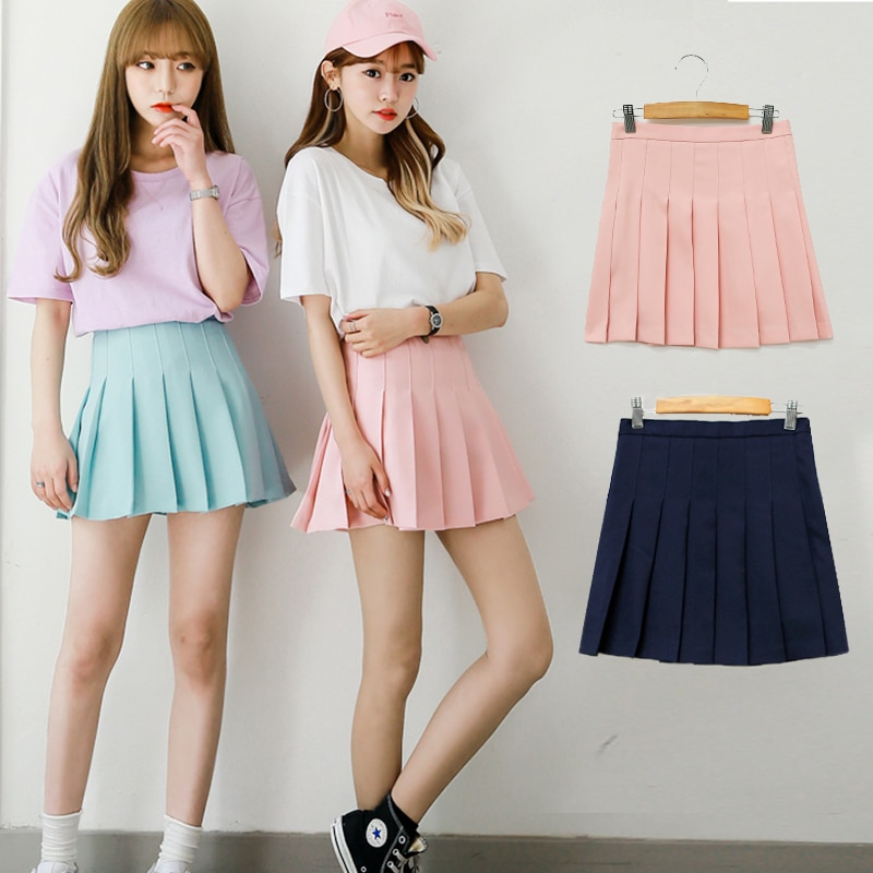 Water color Japanese high waist pleated skirts JK student Girls solid pleated skirt Cute Cosplay school uniform skirt 1
