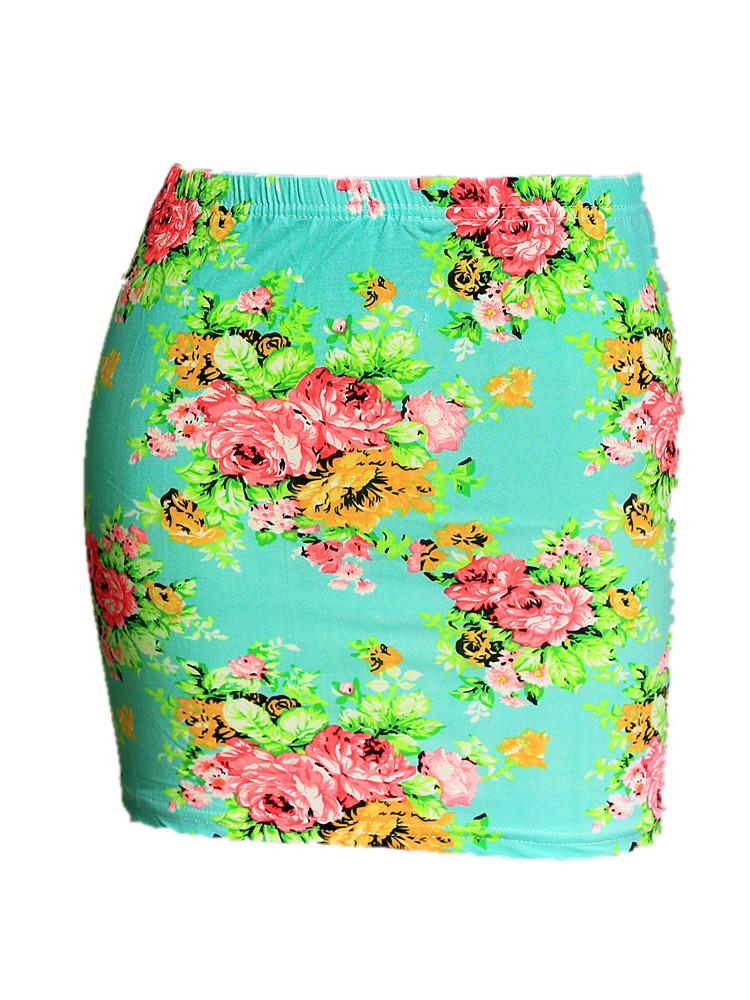 Summer Season Women Low Waist Pencil Skirts Ladies Slim Bodycon Tube Wrap Midi Skirts Floral Cotton Print H150 2
