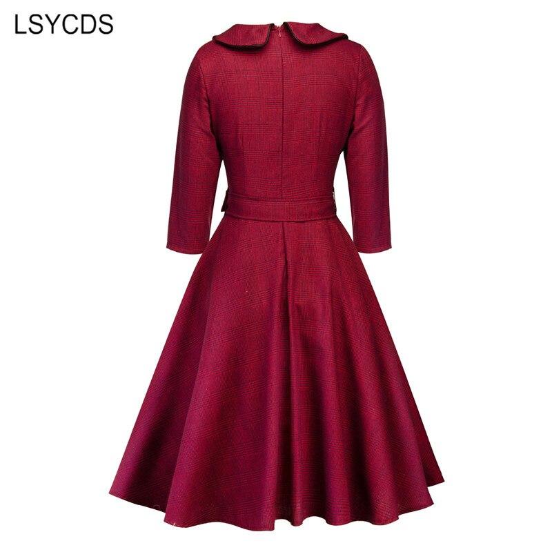 LSYCDS Autumn Winter Women Elegant Dresses Half Sleeve Peter Pan Collar 1950s Retro A-line Knee Length Big Swing Vintage Dress 2