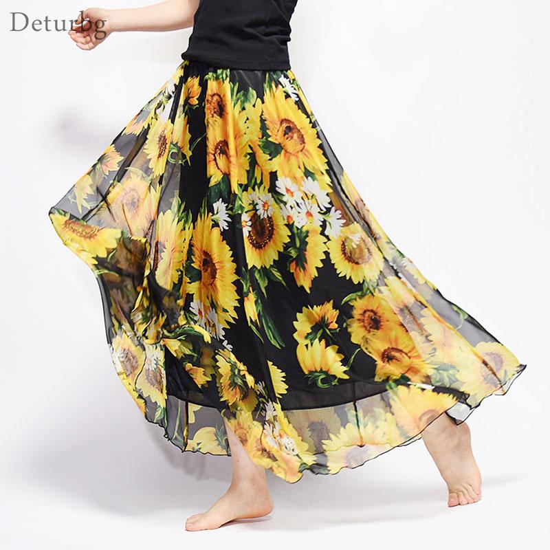 New Fashion 18 Women's BOHO Elegant Florals Print Chiffon Long Skirt Ladies Slim High-Waist Elastic Waist Pleated Skirts SK15