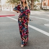 B Summer Dress Women Cotton Sexy V-Neck Half Sleeve Floral Print Dress Plus Size Lace Up Vacation Beach Ankle-Length Dress