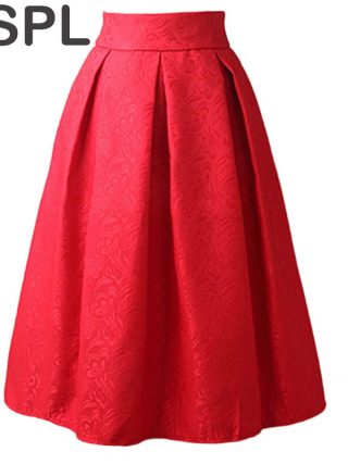 Women Skirts High Waist Pleated Midi 17 Spring Summer Vintage Skirt Work Wear Hepburn Skirts Lady Europe Saia