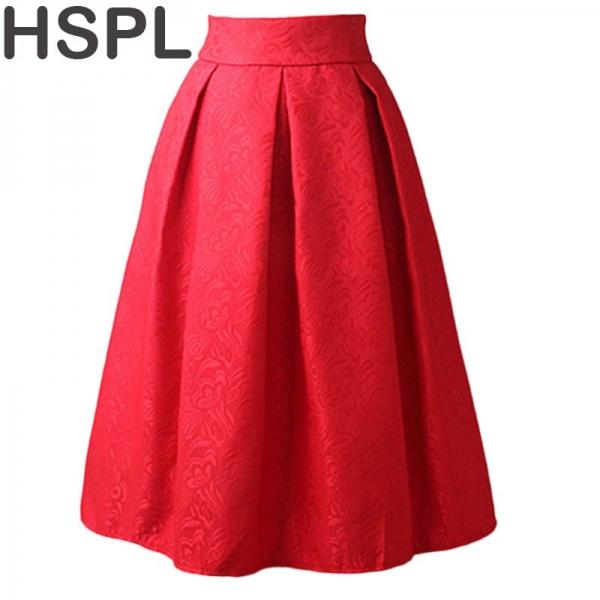 Women Skirts High Waist Pleated Midi 17 Spring Summer Vintage Skirt Work Wear Hepburn Skirts Lady Europe Saia