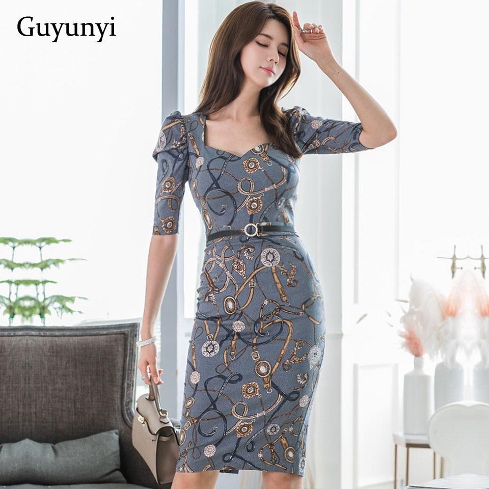 Fashion Pattern Office Lady Dress 19 Autumn High Waist Slim Decorative Belt Half Sleeve Simple Elegant Party Dress Women 1