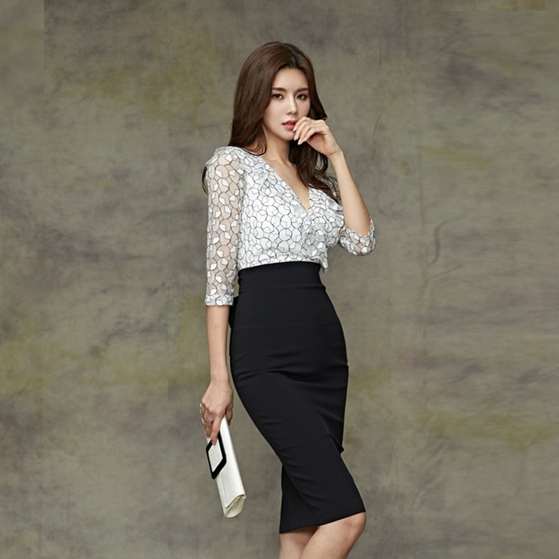 CINESSD false 2 Pieces Suits Dress For Women hollow out Half sleeve Deep v neck formal spring autumn female Office midi Dress 2