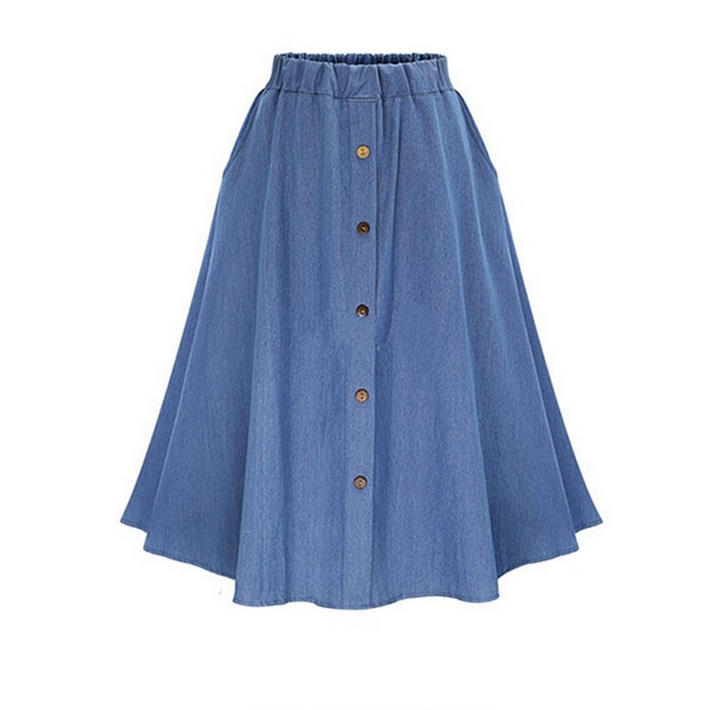 Retro High Waist Denim Skirts Loose Solid Thin Jean Faldas Mujer Fashion Single Breasted Jupe Cozy Summer 17 Women Skirts 1