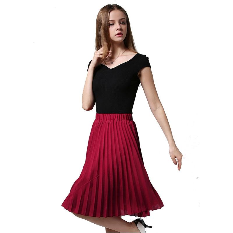 8 Colours Women Chiffon Pleated Skirt Vintage High Waist Tutu Skirts Womens Saia Midi Rokken 19 Summer Style Jupe Femme Skirt 3