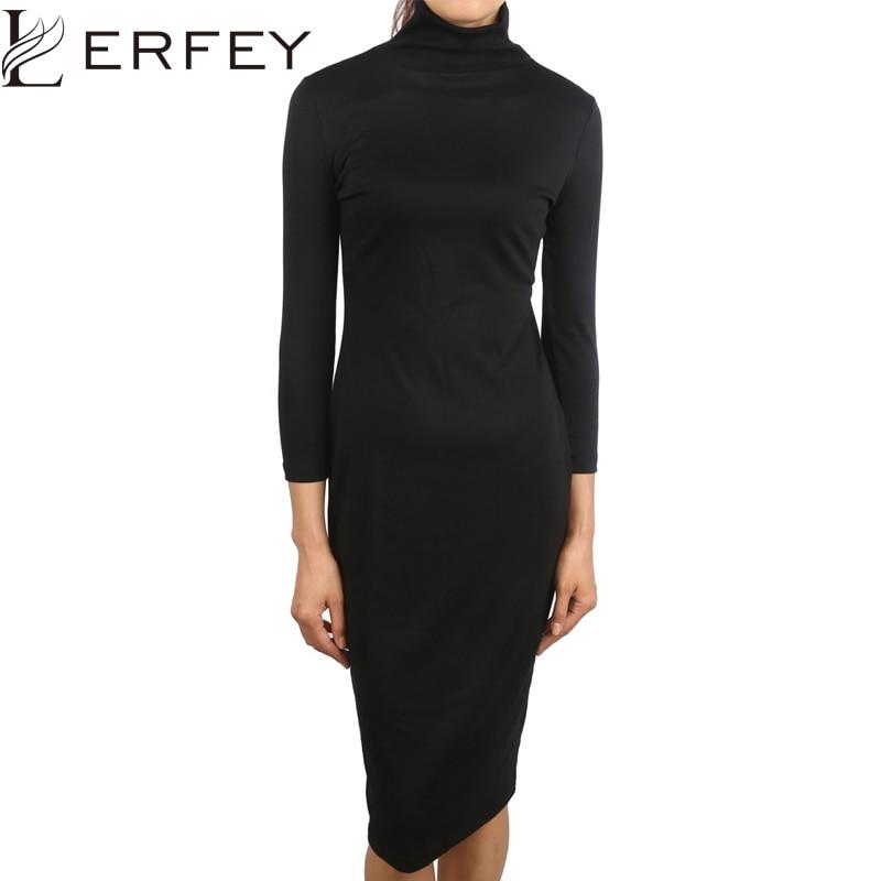LERFEY Women Autumn Black Dress Half Sleeve Dresses Sheath Office Bussiness Bodycon Turtleneck Dress New Clothings 1