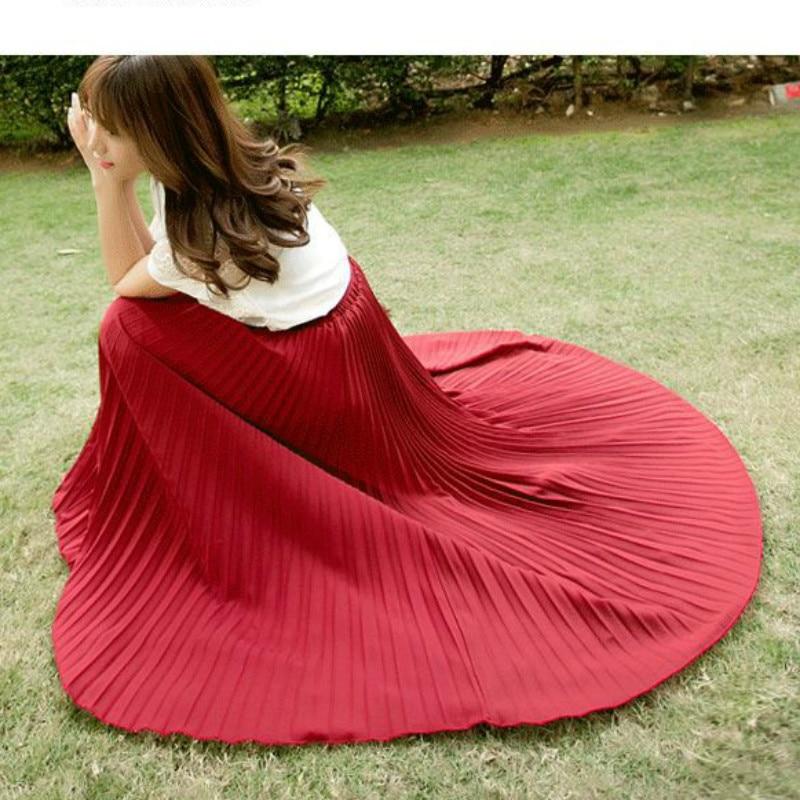 17 Summer New Fshion faldas Korean Style Big Swing Maxi Skirts Womens Summer jupe High Waist Adult Long Chiffon tulle skirt 2