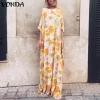 Maxi Printed Dress VONDA Bohemian Sexy O Neck Half Sleeve Long Dresses Casual Loose Spring Summer Vintage Party Vestidos 5XL