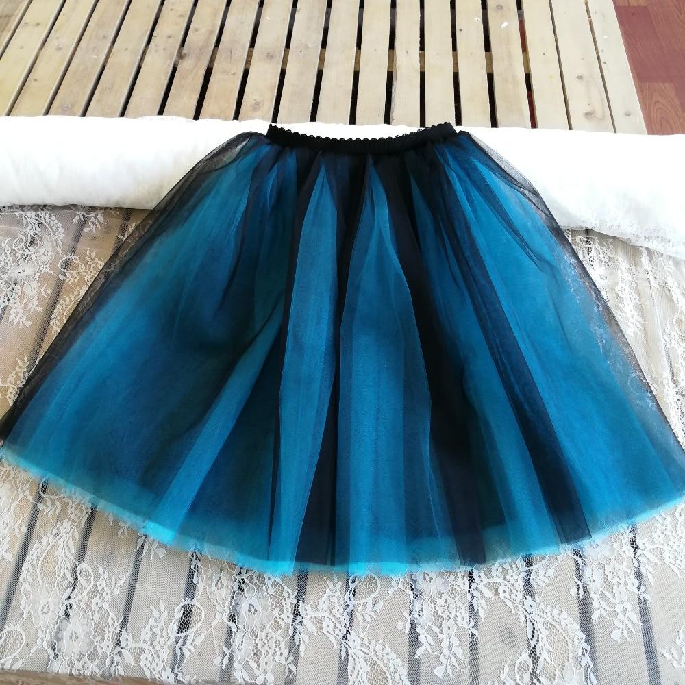 Gothic 5 Layers 65cm Mix Colors Tutu Tulle Skirt Women Streetwear High Waist Pleated Midi Skirts spudniczki jupe rokken faldas 3