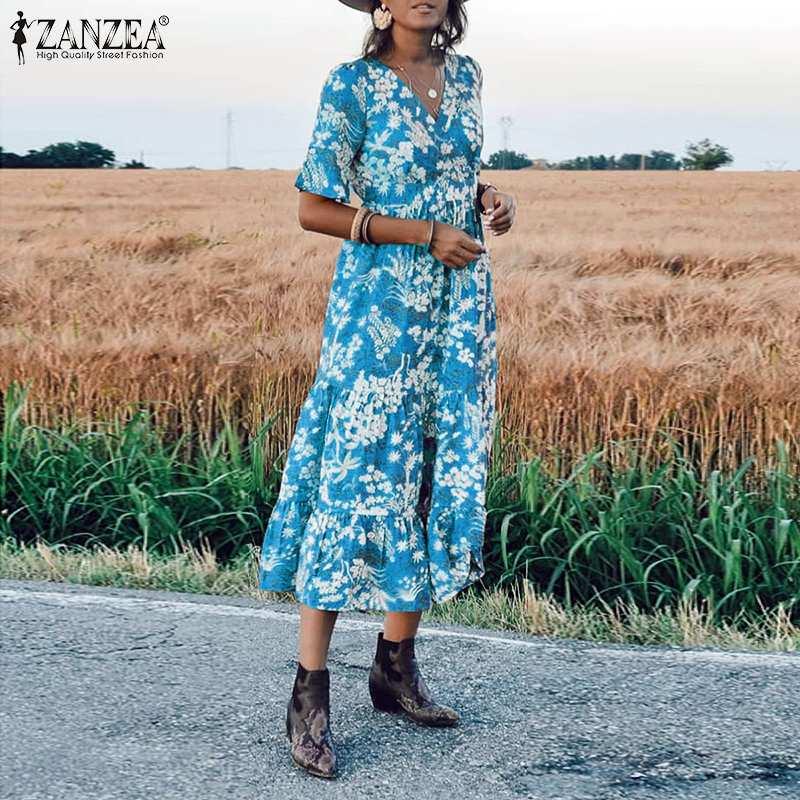 Women Floral Print Midi Dress ZANZEA 19 Vintage Lady Half Sleeve V Neck Dress Bohemian Vestidos Party Evening Summer Sundress 2