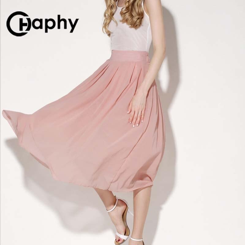 Solid Long Chiffon Skirts 18 Summer All-match Pink Maxi Pleated Chiffon Skirt High Waist A Line Chiffon Pleated Maxi Skirts 2