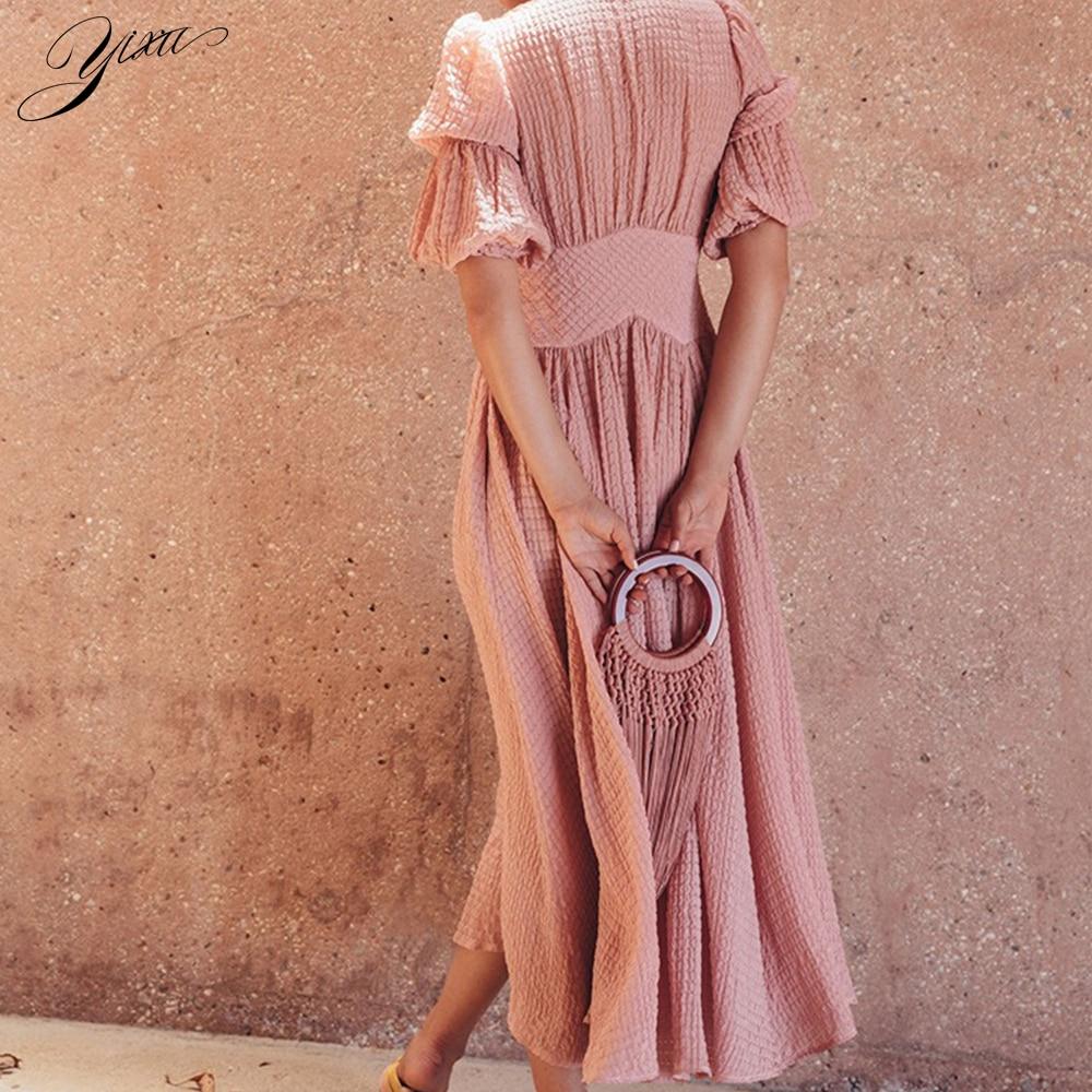 Fashion Woman Summer Chiffon Mid Dress Sexy Deep V-neck Female Casual A-line Dresses Half Lantern Sleeve Dresses Women 3