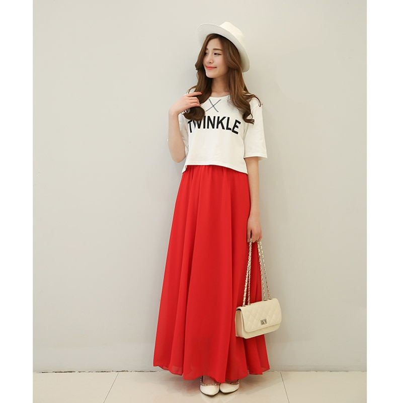 SK71 Long Skirt Elegant Style Women Pastel Jupe Pleated Chiffon Maxi Skirts Floor-Length Saia Vintage Saias Womens Solid Faldas 3