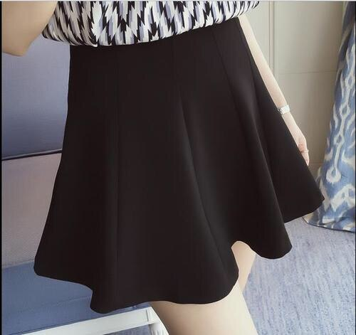 08 summer Women Short skirt new solid color high waist Large size black Pleated Mini fashion skirt 1