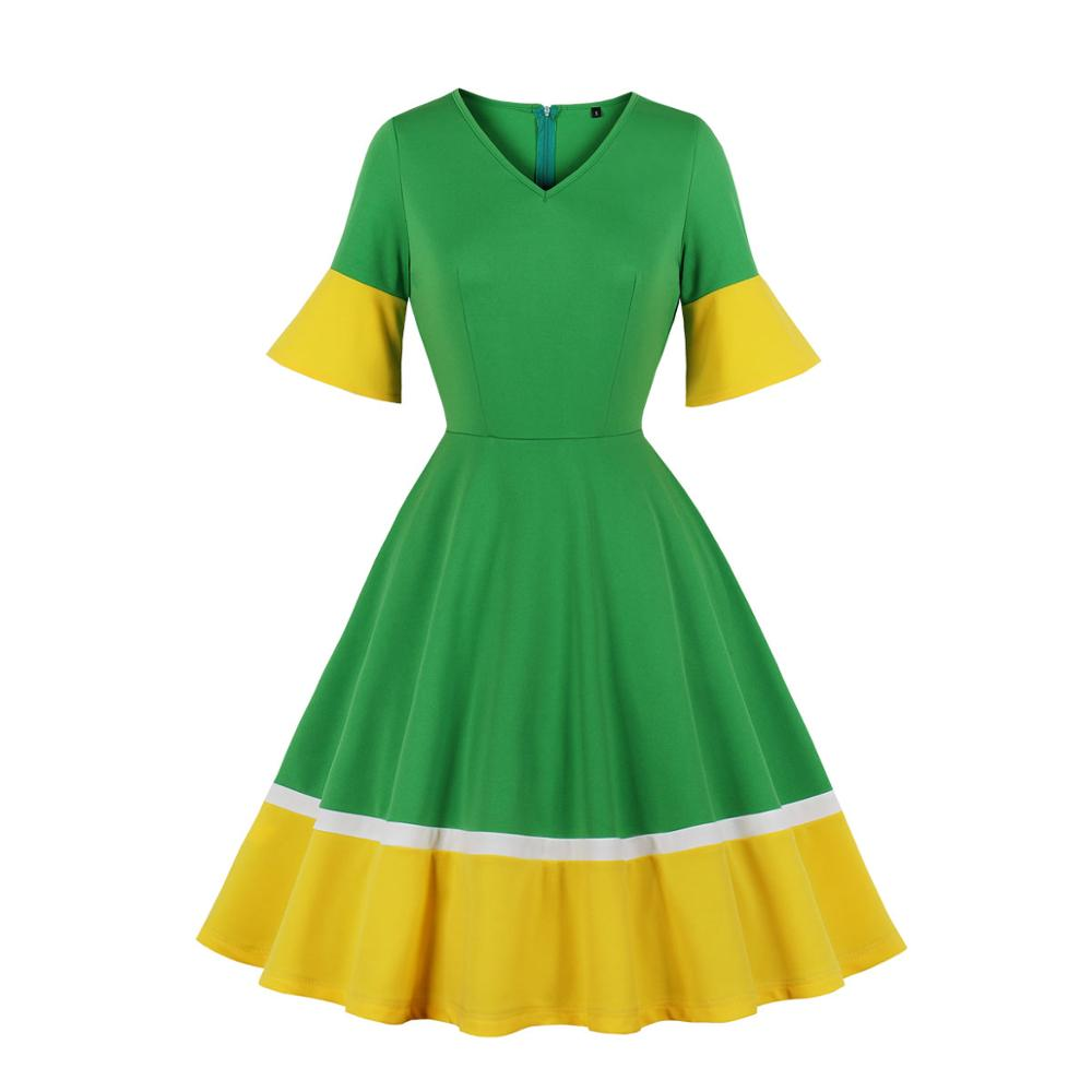 Casual Women v Neck Vintage Dress 1/2 Half Sleeve Flare Sleeve Solid Color Polyester Dress Green And Yellow 1