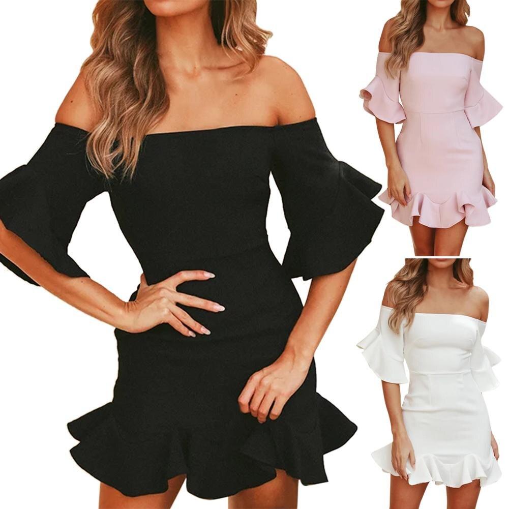 18 Spring Summer Popular Ruffled Half Sleeves Elegant Dress Bodycon Women Off Shoulder Sexy Party Dress Nightclub Short Dress 3
