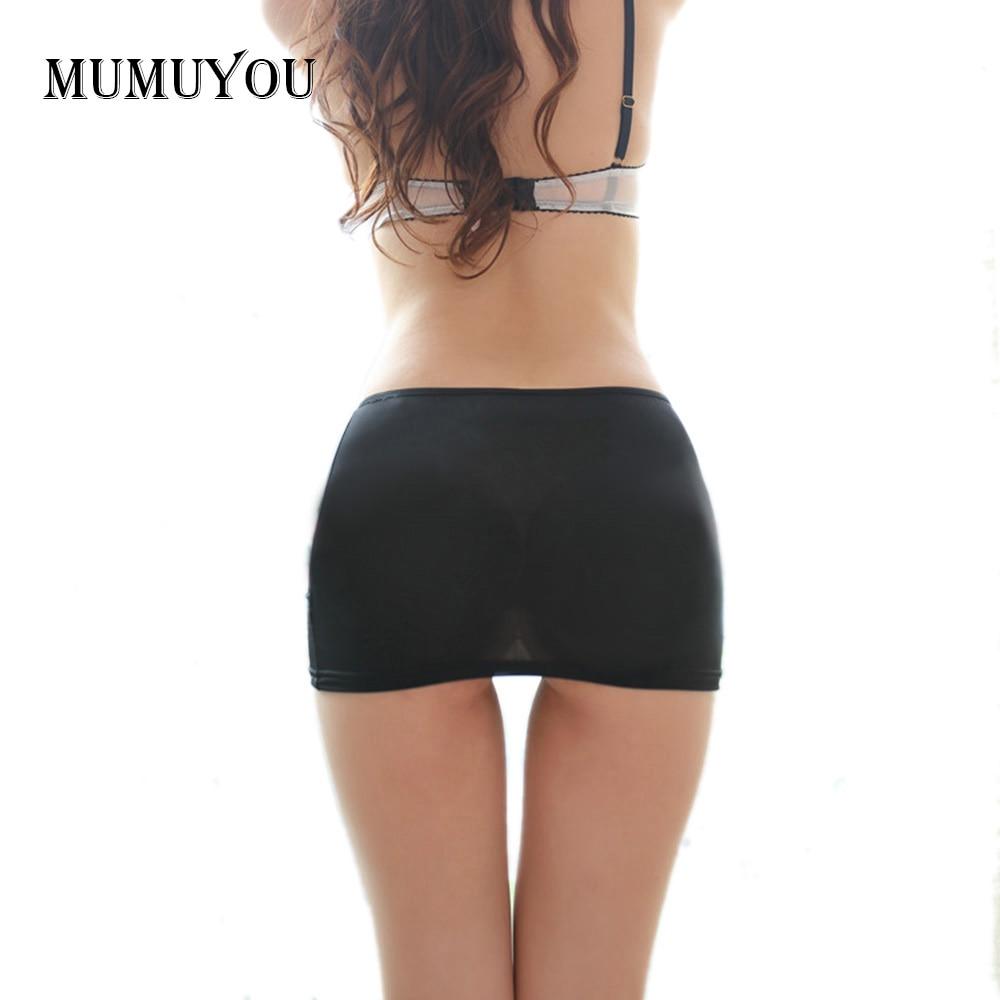 Ladies Hot Bodycon Bandage Elastic Skirt Micro Mini Erotic Low Waist Clubwear Nightclub Sexy Solid Color Black/White 047-2615