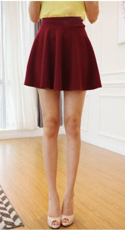 New Korean Style Womens A-line Pleated Skirt Mini Summer Fashion Style Candy Color Above Knee SkirtC24 2