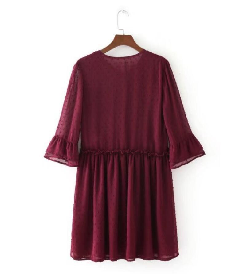 Fashion Women Flower embroidery O-Neck Lacing Mini Dresses Casual Half sleeve Slim dress Womens Clothing 3