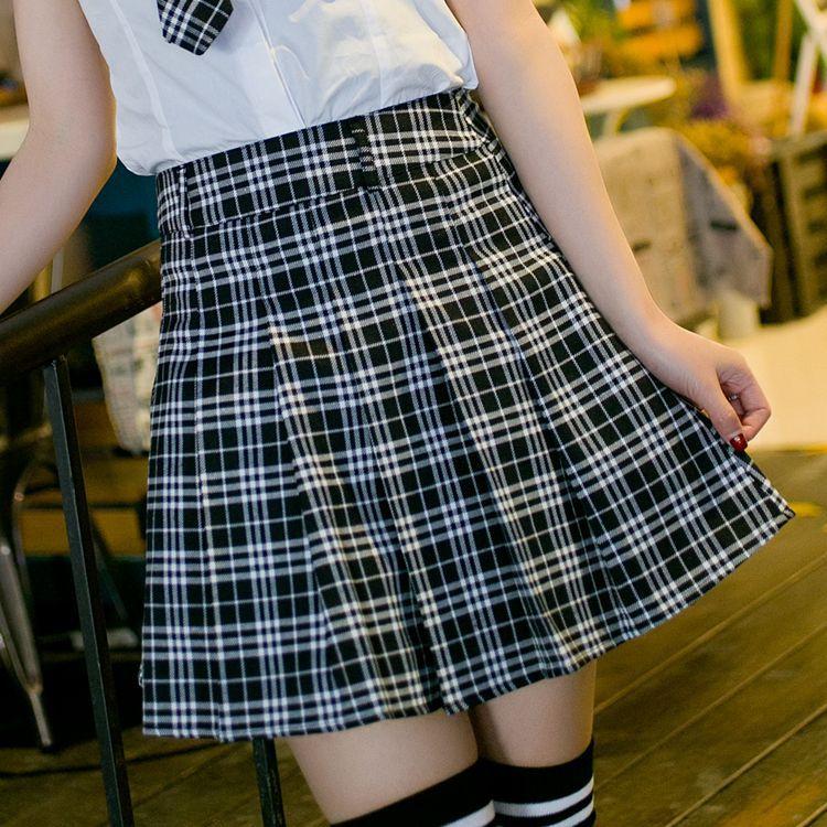 6 colors Plaid uniform skirts Korea Fashion Preppy Style Pleated Skirt Women Red Plaid Skirt School Uniform Girls Short Skirts 3