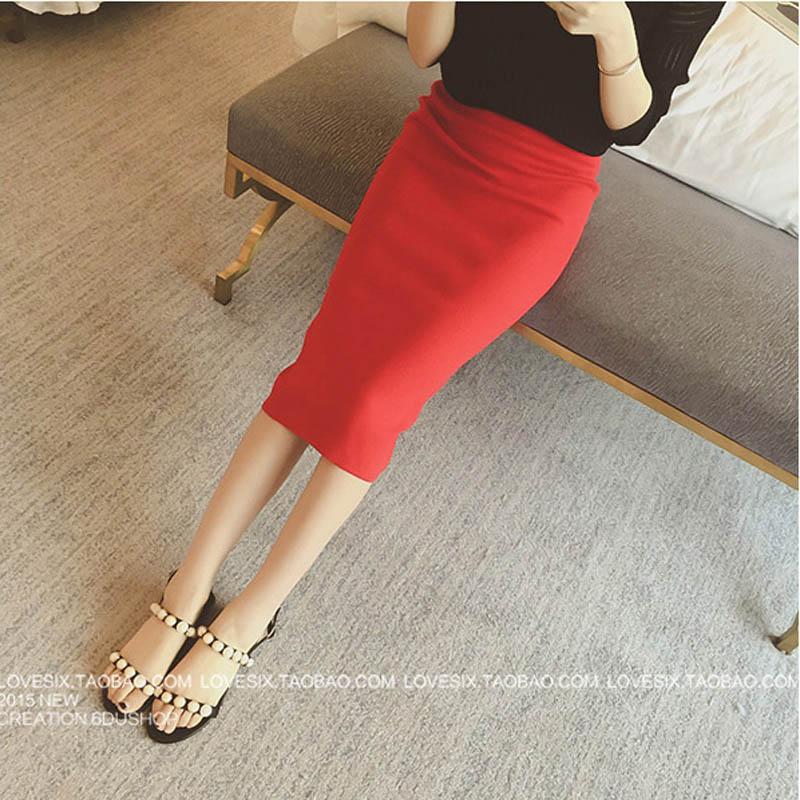 16 Spring autumn and winter when the bag hip skirt step skirt stretch slim slim skirt waist in female 2