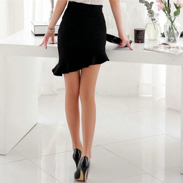 NEW Girls Black Elasticity High Waist Skirts Sexy Asymmetry Ruffles Skirt Slim Women Tight Bias Skirt