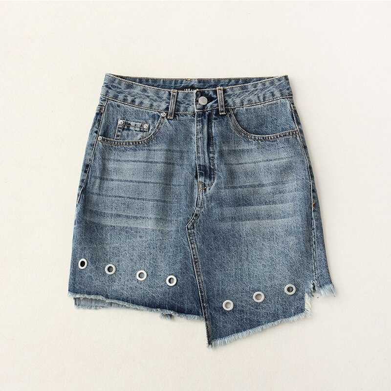 High Waist Eyelet Asymmetric Mini Denim Skirt Women Casual Novelty High Street Style Hollow Out Jeans Skirt Blue Light Wash 1