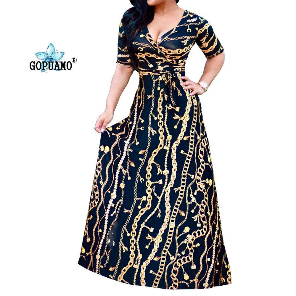 18 New Arrival Women Maxi Dresses V-Neck half Sleeve Womens Fashion Iron chain print Long Party Dress D1150-1152 sexy dress 2