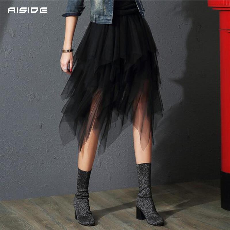 Tulle Skirts Womens Faldas Mujer Moda 19 Fashion Elastic High Waist Mesh Tutu Maxi Pleated Long Midi Saias Jupe Women's Skirt