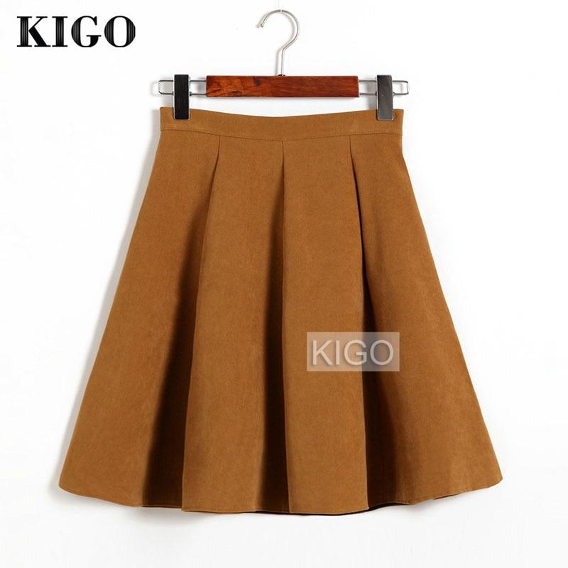 KIGO Autumn Winter Skirts Women 18 Suede Skirt High Waist Flared Skirt Knee-Length Midi Casual Vintage Skirt Faldas KJ1065H