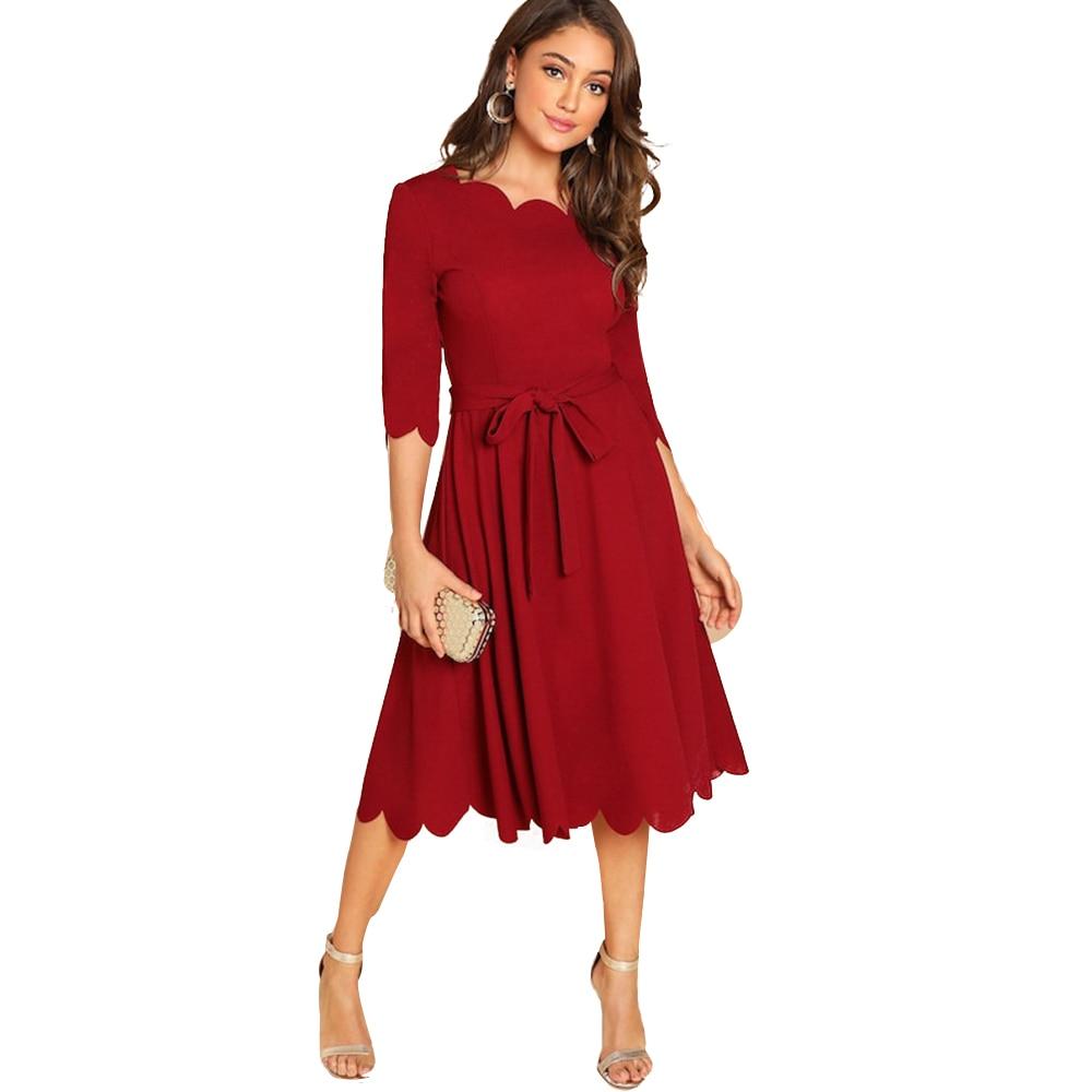 Kenancy Solid Plus Size Women Causal Dress Autumn Wave Cut Half Sleeve Femme Party Dresses Lace Up A-Line Midi Feminino Vestidos 2